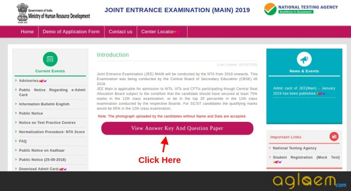 JEE Main 2019 Question Paper And Response Sheet