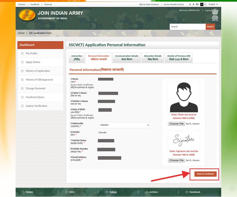 Indian Army SSC Tech Application Form