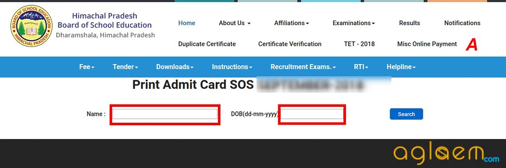 HP Open Admit Card 2019 for Class 10, 12