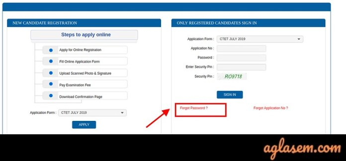 CTET Application From Correction 2019 - If you forgot password