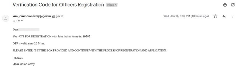 Indian Army JAG 23 - confirmation email after successful registration