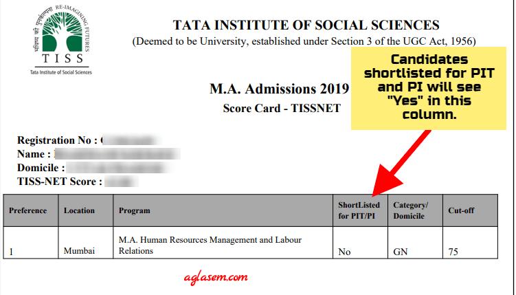 TISSNET 2021 Merit List