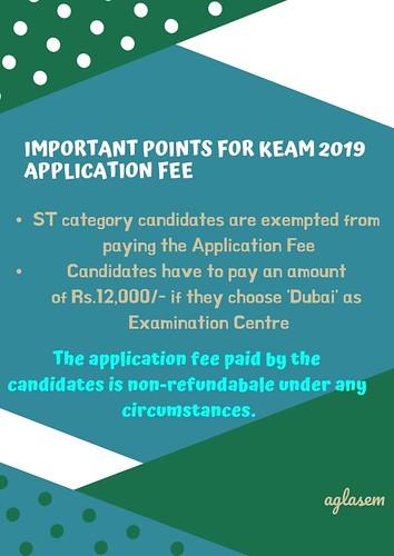 Application Fee KEAM 2019
