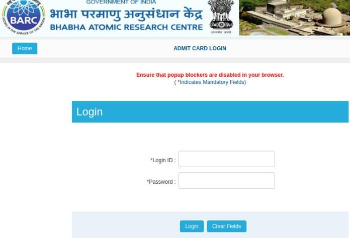 BARC Admit Card login - 2019