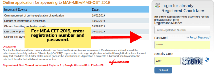 MBA/MMS CET 2019 Login