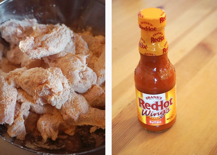 Homemade gluten free fried buffalo wings with Frank's RedHot Buffalo sauce | coating the chicken wings in flour