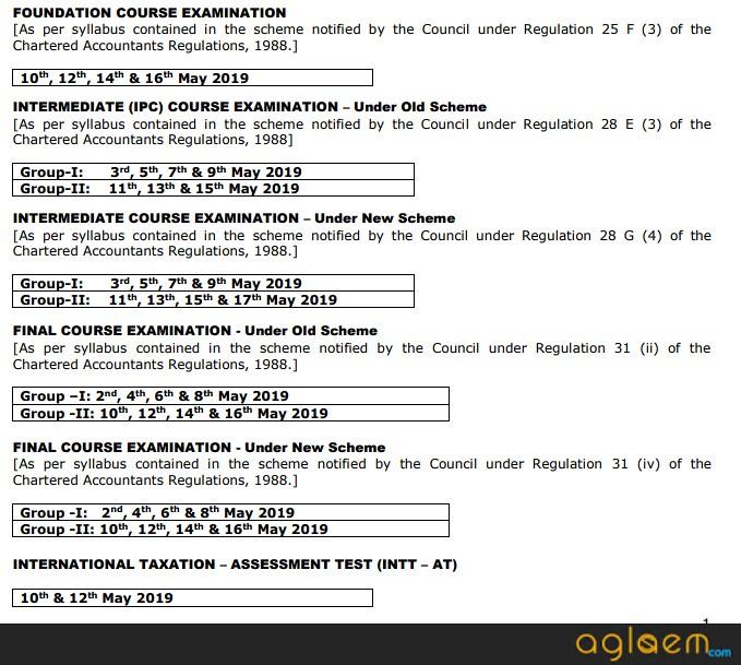 ca examination dates may 2019
