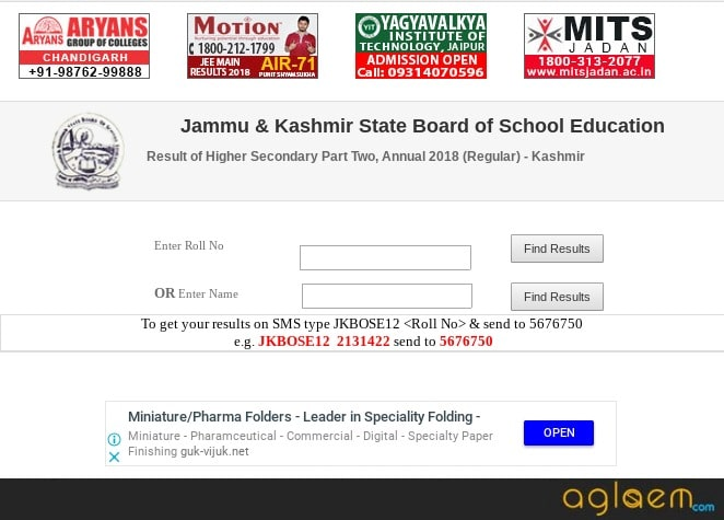 JKBOSE 12th Result 2018 Name Wise