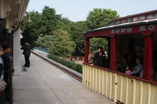 Train departs Main Street station on the Hong Kong Disneyland Railroad