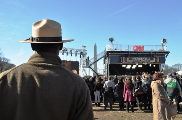 National Park Service Ranger Watching CNN Recording, Day Before 57th Presidential Inauguration, Washington, D.C., Jan. 20, 2013
