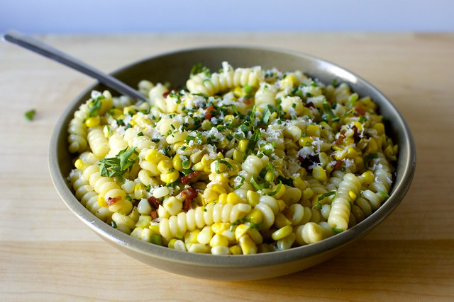 pasta with corn bacon and parmesan