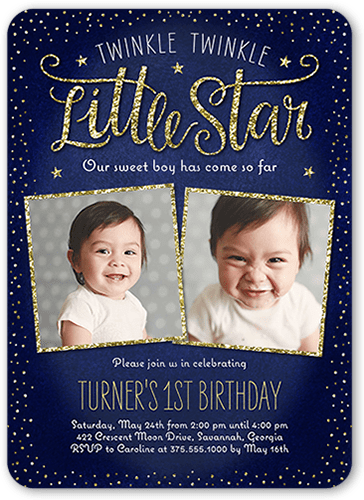 twinkle celebration boy first birthday invitation shutterfly