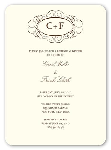 Fancy Monogram Cream 5x7 Invitation Rehearsal Dinner