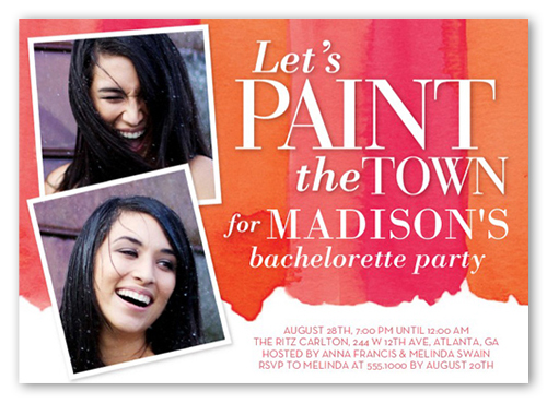 Paint The Town 5x7 Card Bachelorette Party Invitations