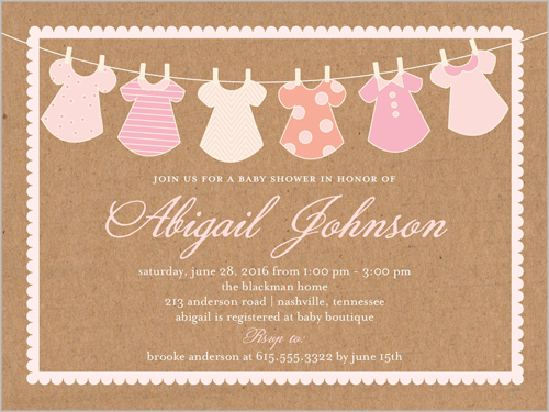 Clothes Line Girl 4x5 Baby Shower Invitation Cards