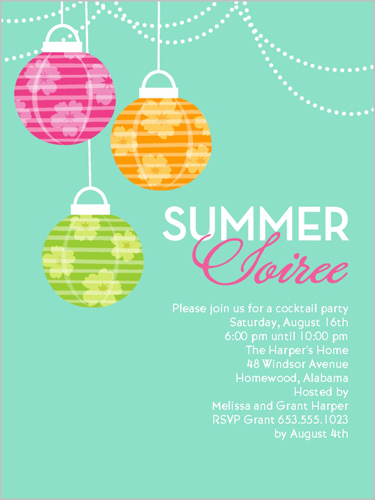 Summer Soiree 4x5 Invitation Card Party Invitations