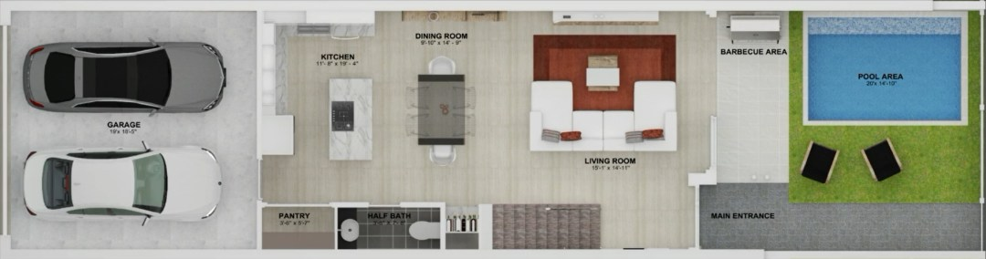 Enclave unit BCD Floor plan 1st story
