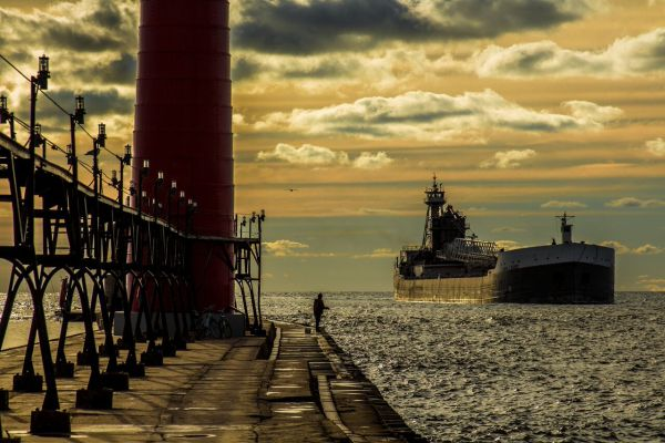 Freighter coming into port on Lake Michigan