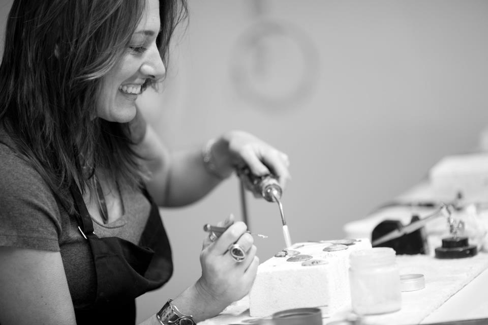 Julie Sanford at work in her studio.