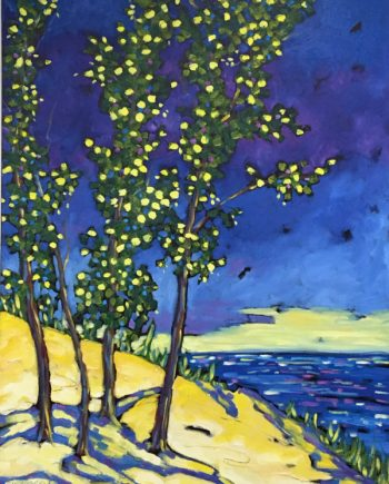 print of original oil painting of dunes, trees and water