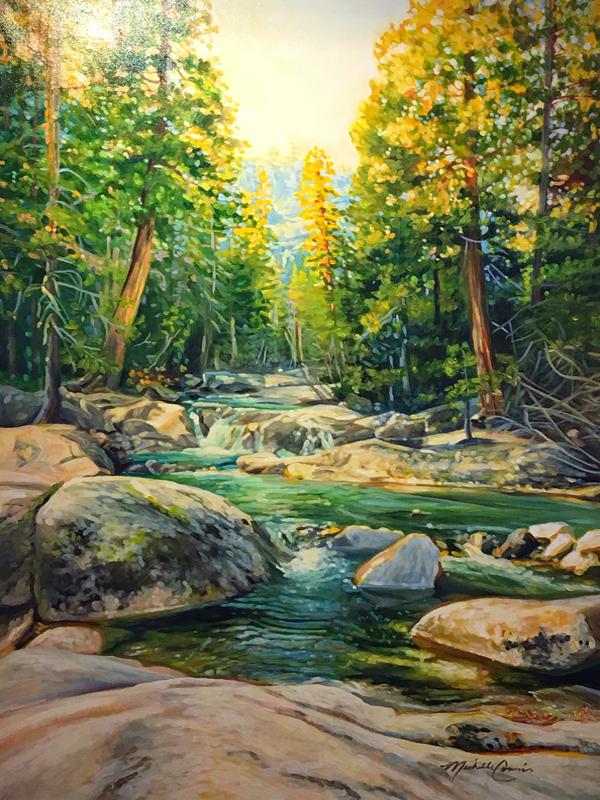 Landscape Painting by Michelle Courier Boulders River Light
