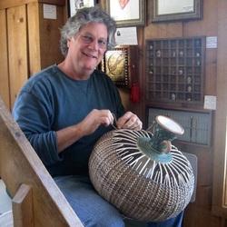 Stephen Kostyshyn making a ceramic basket