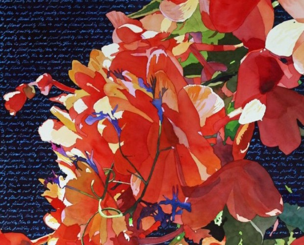 not your typical flower painting by Mark Mehaffey