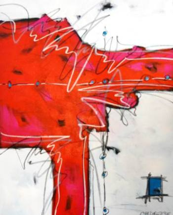 print of red and white abstract painting by Christi Dreese