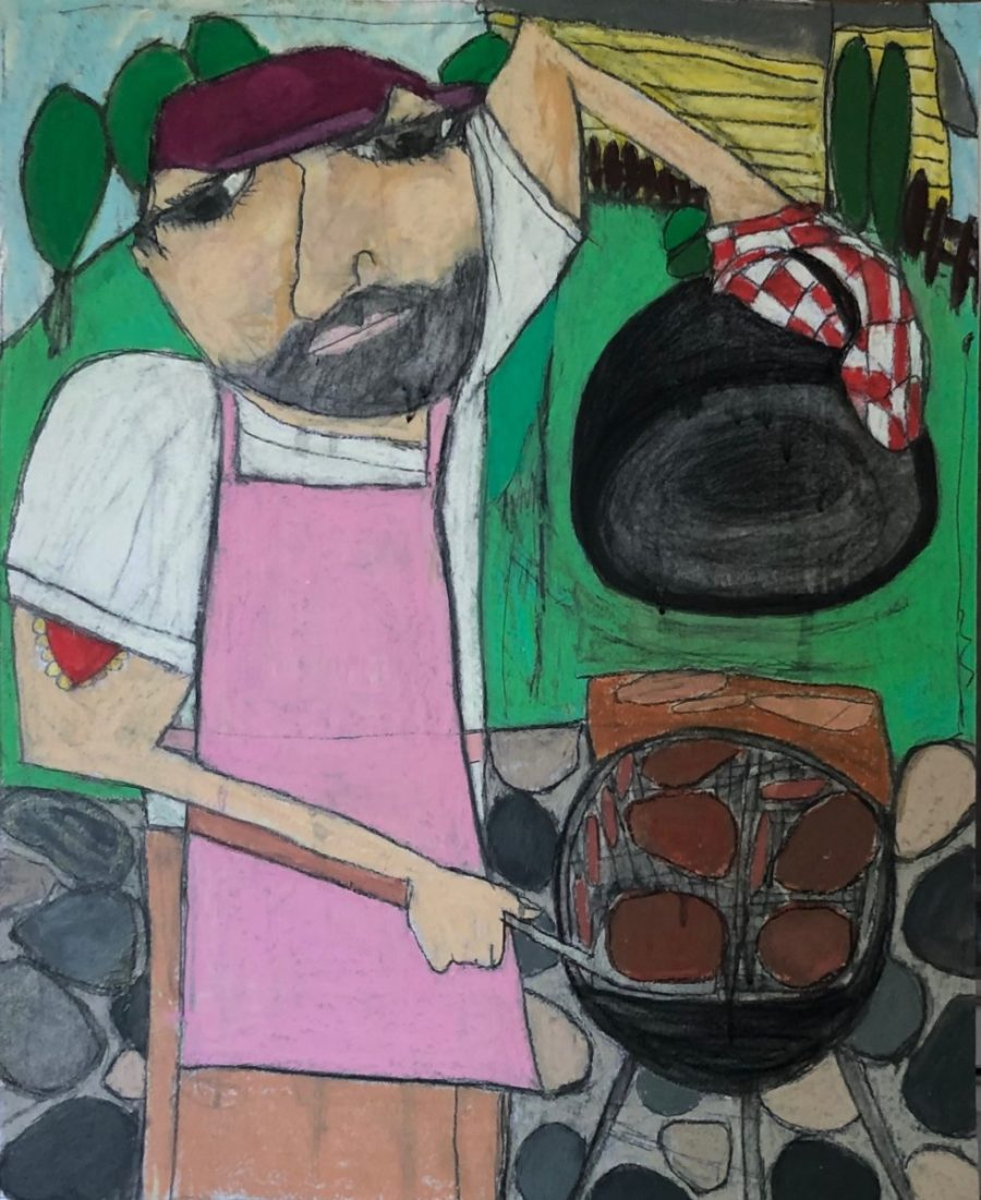 Grilling oil pastel by Kerry Rolewicz