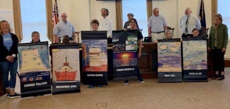 Main Street GH student artwork banners at City Council