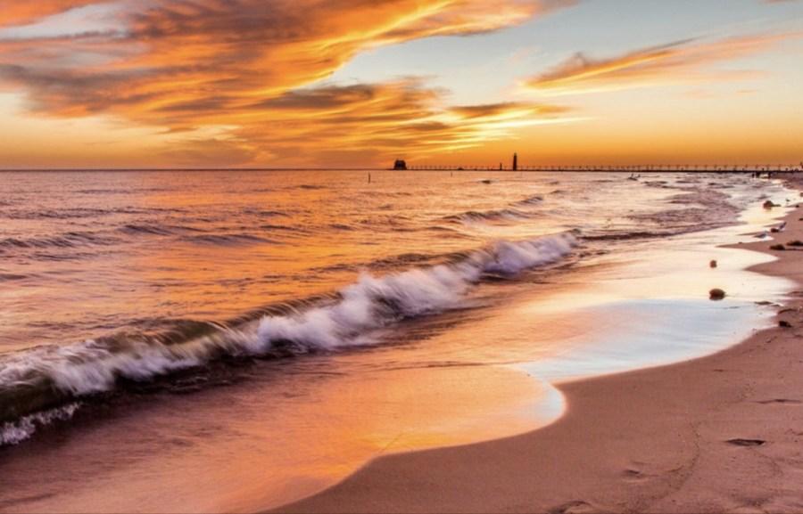 Sunset at Grand Haven michigan beach