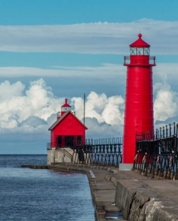 photograph of the grand haven pier and lighthouse on a summer morning