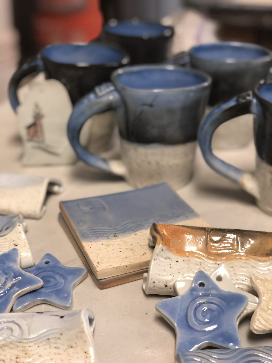 Porcelain mugs with Lake Michigan beach sand glaze, stars, spoons rests, soap dishes, Christmas ornaments, lighthouses