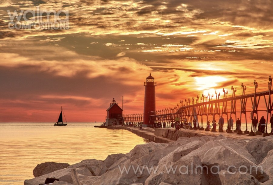 Sunset and sailboats on Lake Michigan by bob walma