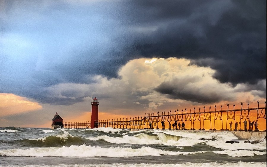 Grand haven pier and catwalk photograph by bob walma