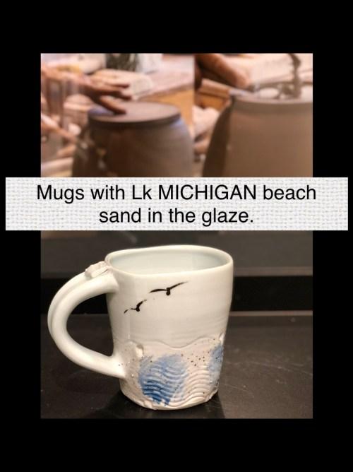 Mugs by Cyndi Casemier with lake michigan beach sand