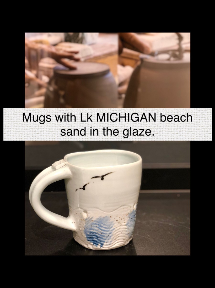 Handmade mugs by Cyndi Casemier with Lake Michigan beach sand