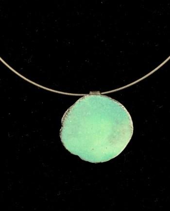 handmade enameled steel pendant, aqua