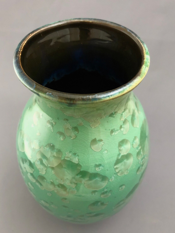 Top of Green Crystalline Vase by Brooks