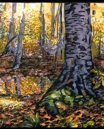 original hand pulled print of woods with fall colors