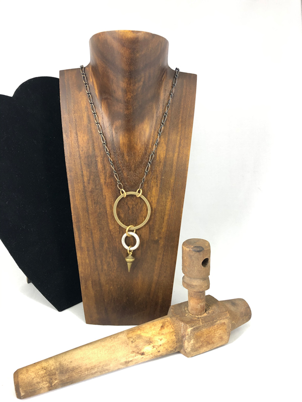handmade necklace with 2 hoops and a charm