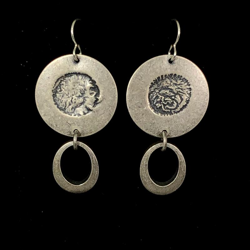 Small Silver Oval Drop Earrings