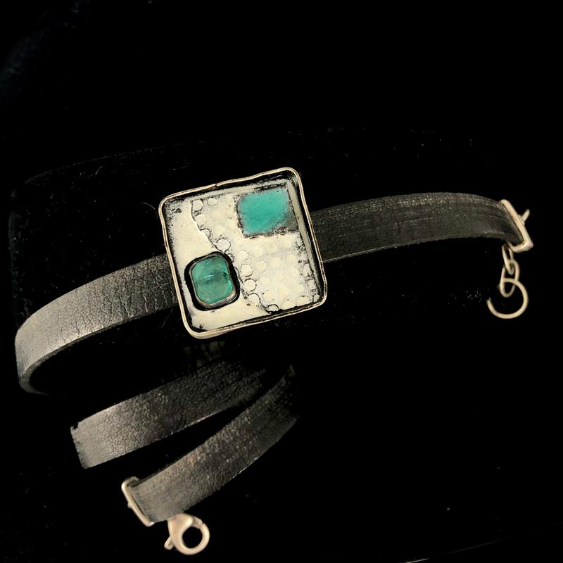 handmade black leather wrap bracelet