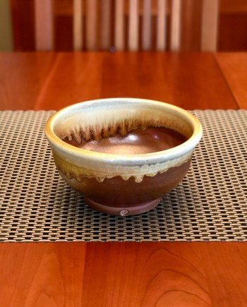wood fired bowl sitting on a table