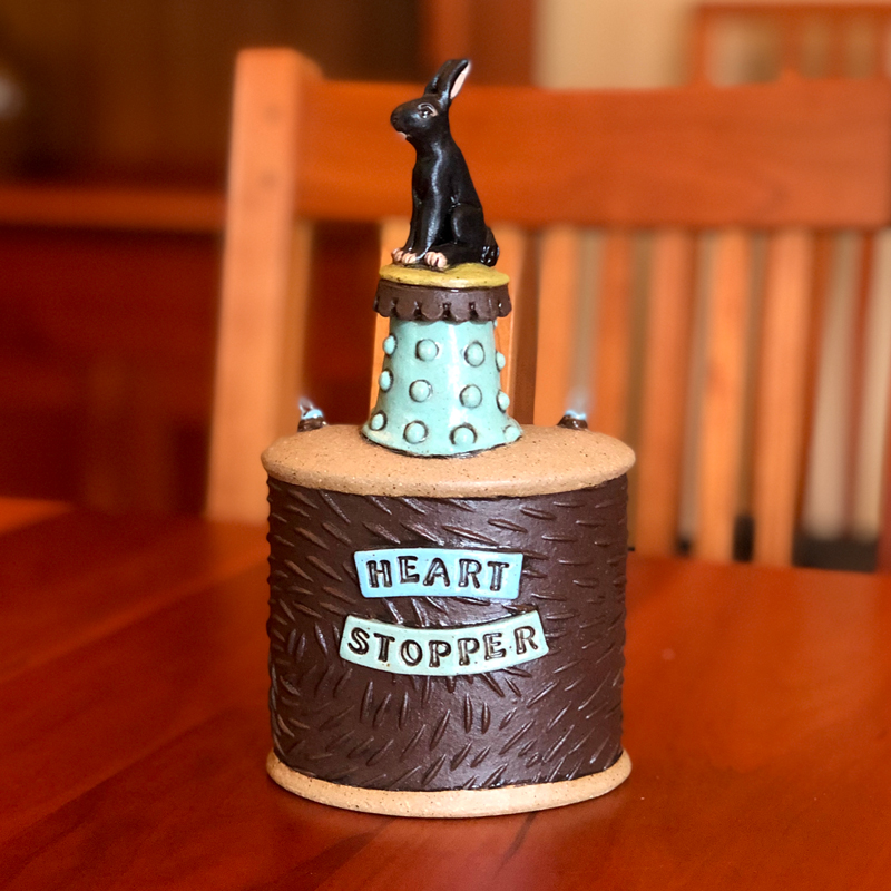 Heart Stopper Paper Clay Flask by Cory McCrory
