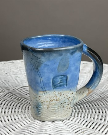 blue beach handmade mug by cyndi casemier
