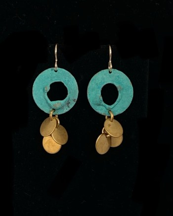 pair of turquoise earrings with gold dangles