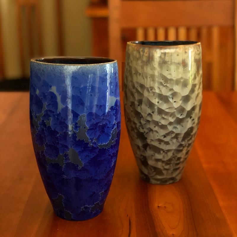 crystalline vases green blue