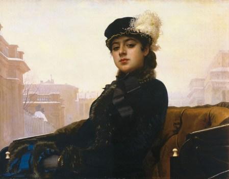 Portrait of an Unknown Woman (1883), oleh seniman Rusia Ivan Kramskoi, seringkali digunakan sebagai ilustrasi sampul Anna Karenina