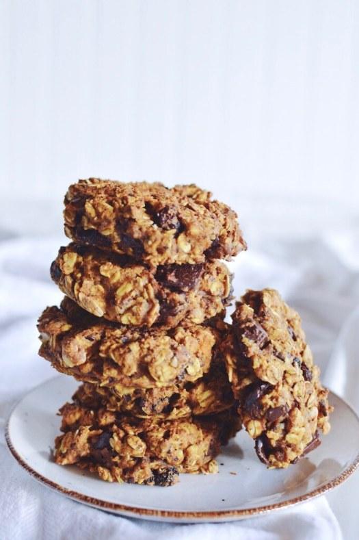 vegan squash chocolate chunk spelt cookies